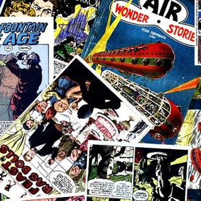 vintage comic book science fiction - LARGE PRINT