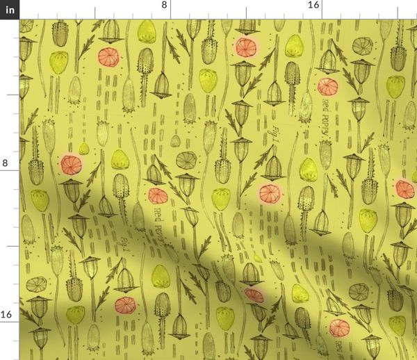 Romance Poppies Seed Pods Spoonflower