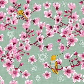 Blossoms and Birds Mint