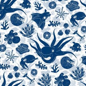 Cephalopods Blue Grunge