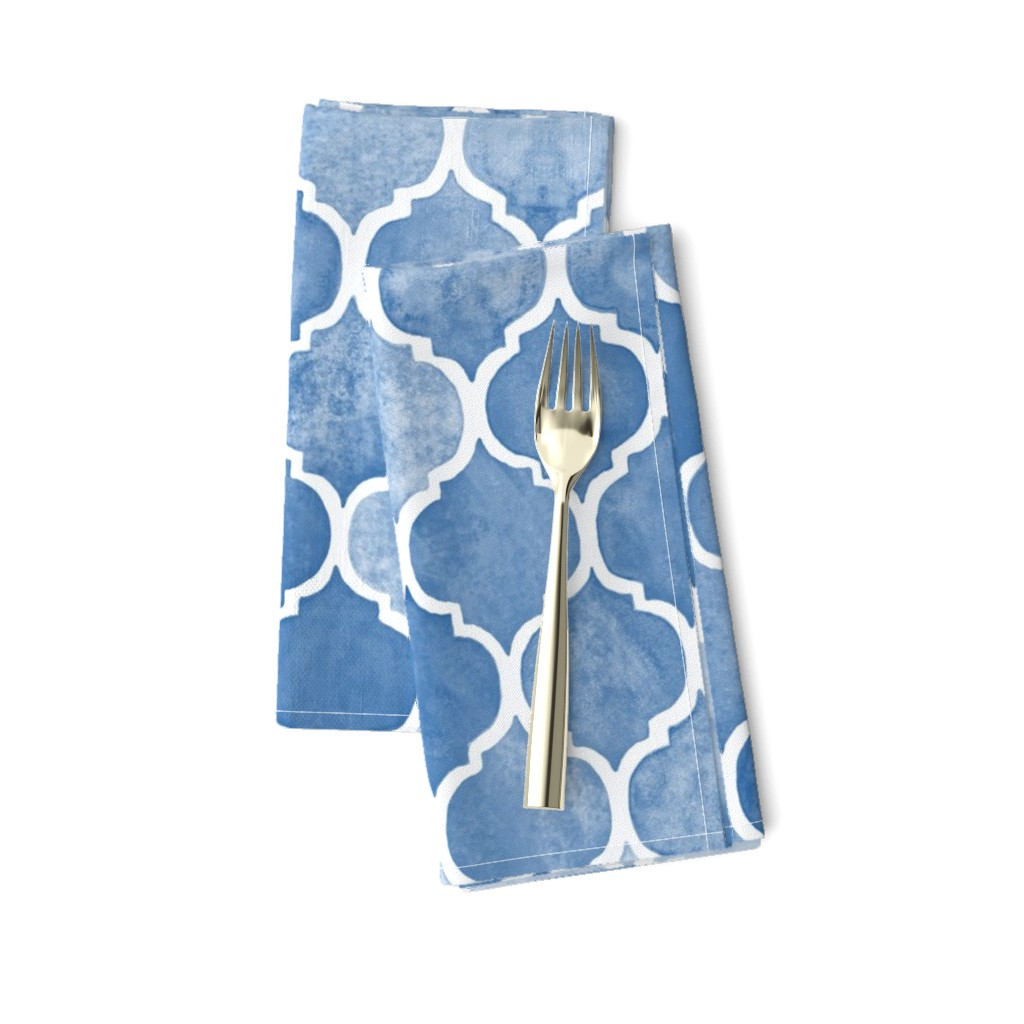 Amarela Dinner Napkins featuring Textured Blue Moroccan by micklyn