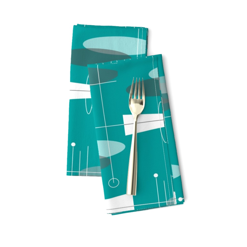 Amarela Dinner Napkins featuring Atomic Circles in Teal by hot4tees_bg@yahoo_com