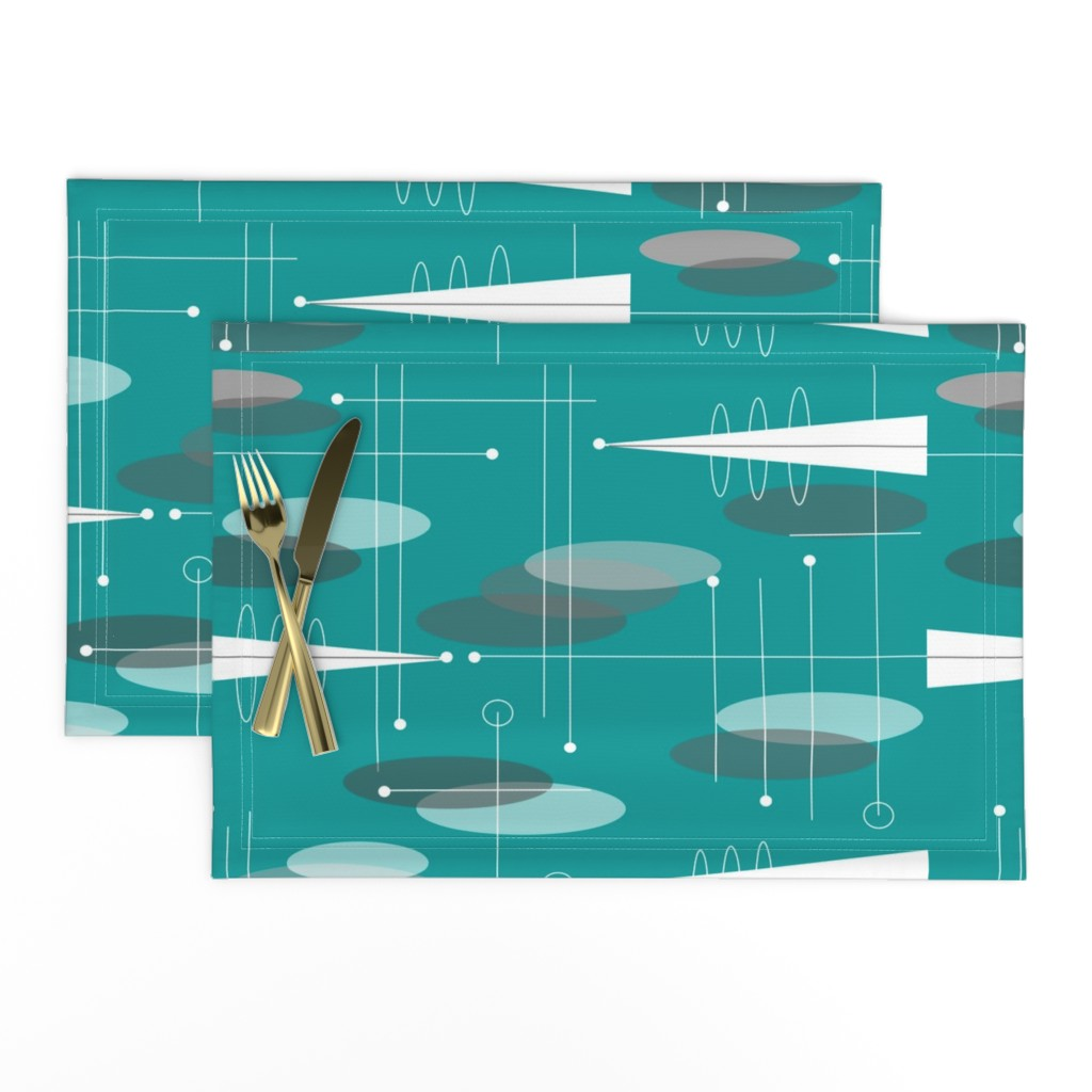 Lamona Cloth Placemats featuring Atomic Circles in Teal by hot4tees_bg@yahoo_com