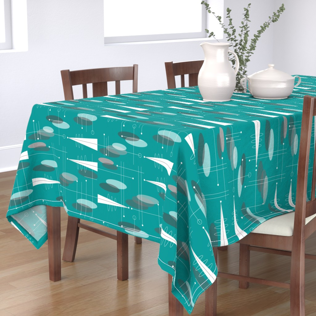 Bantam Rectangular Tablecloth featuring Atomic Circles in Teal by hot4tees_bg@yahoo_com