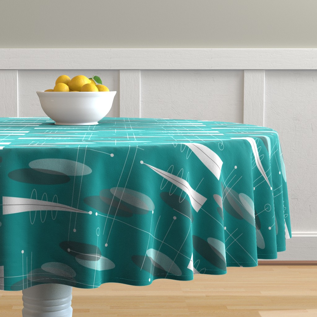 Malay Round Tablecloth featuring Atomic Circles in Teal by hot4tees_bg@yahoo_com