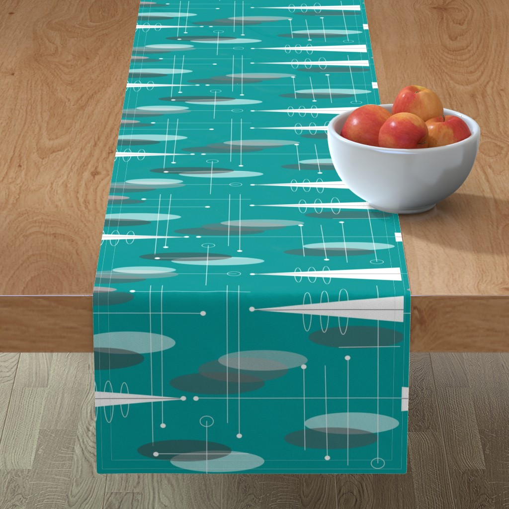 Minorca Table Runner featuring Atomic Circles in Teal by hot4tees_bg@yahoo_com