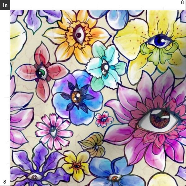 Fabric by the Yard Eyes in Flowers