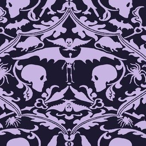Skull Damask Purple