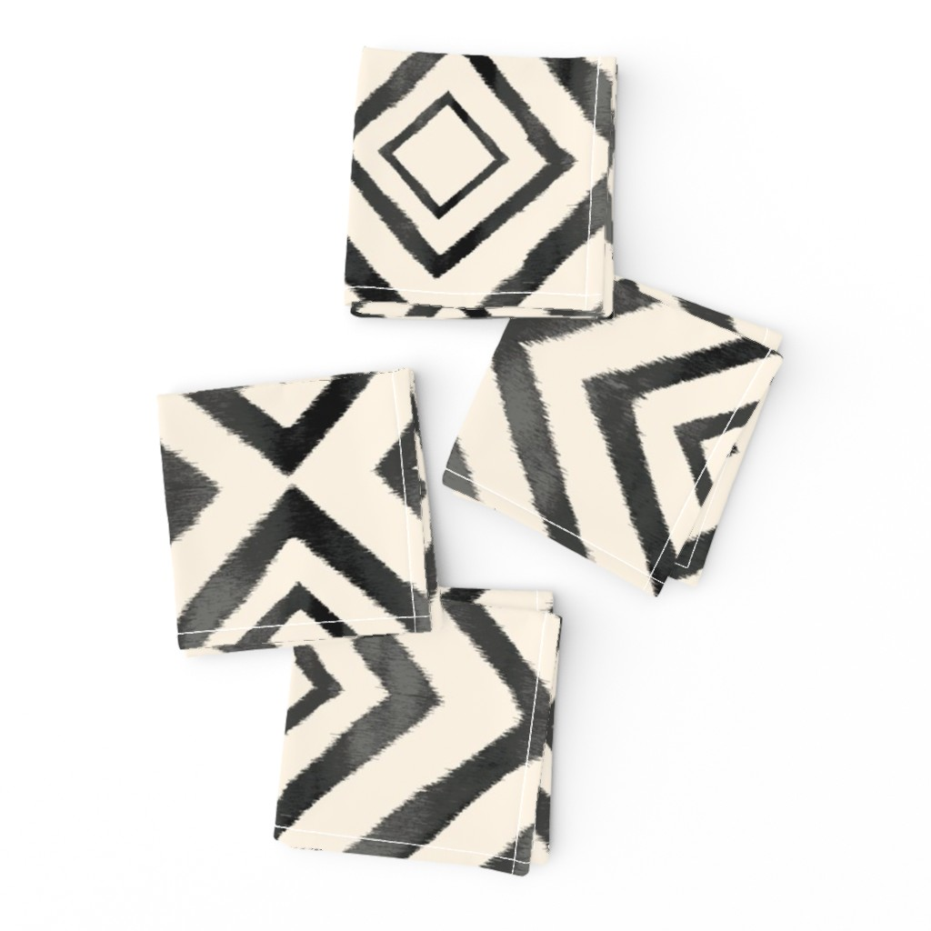 Frizzle Cocktail Napkins featuring Diamond Ikat Black and White by crystal_walen