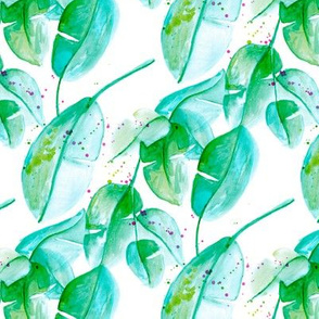 Tropical summer leaves green and aqua forest woodland paint print