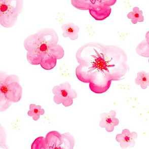 Colorful tropical watercolors flower blossom in blue and pinkColorful tropical watercolors flower blossom in hot pink