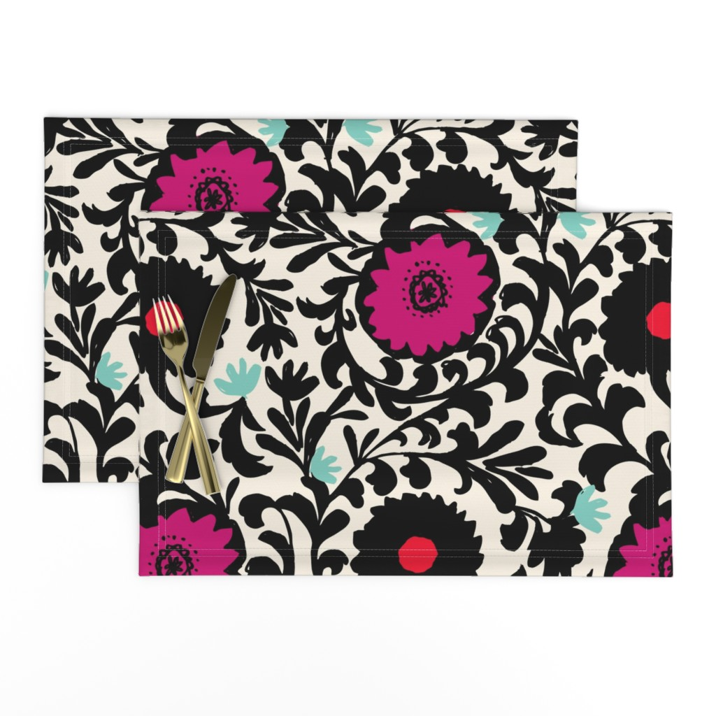 Lamona Cloth Placemats featuring Black and white Color Suzani by crystal_walen