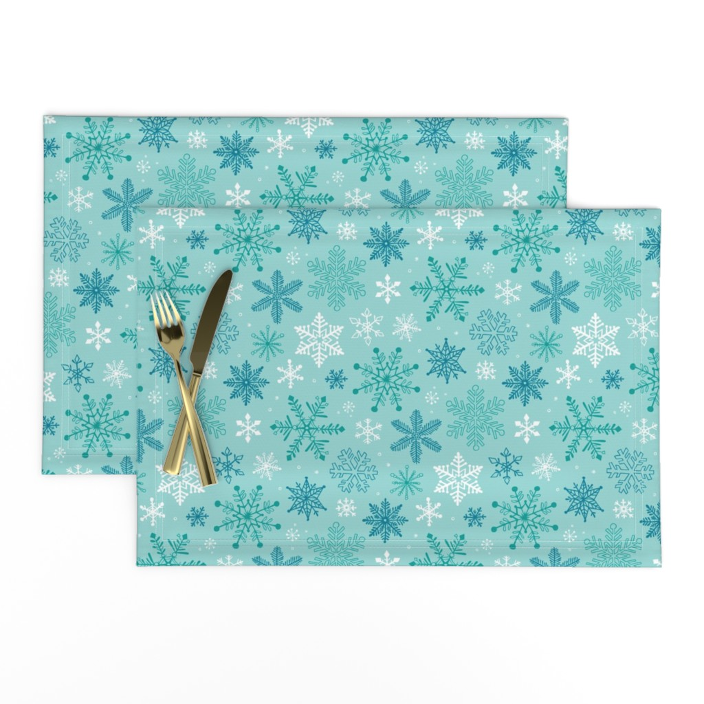 Lamona Cloth Placemats featuring Snowflakes Christmas Blue Mint by caja_design