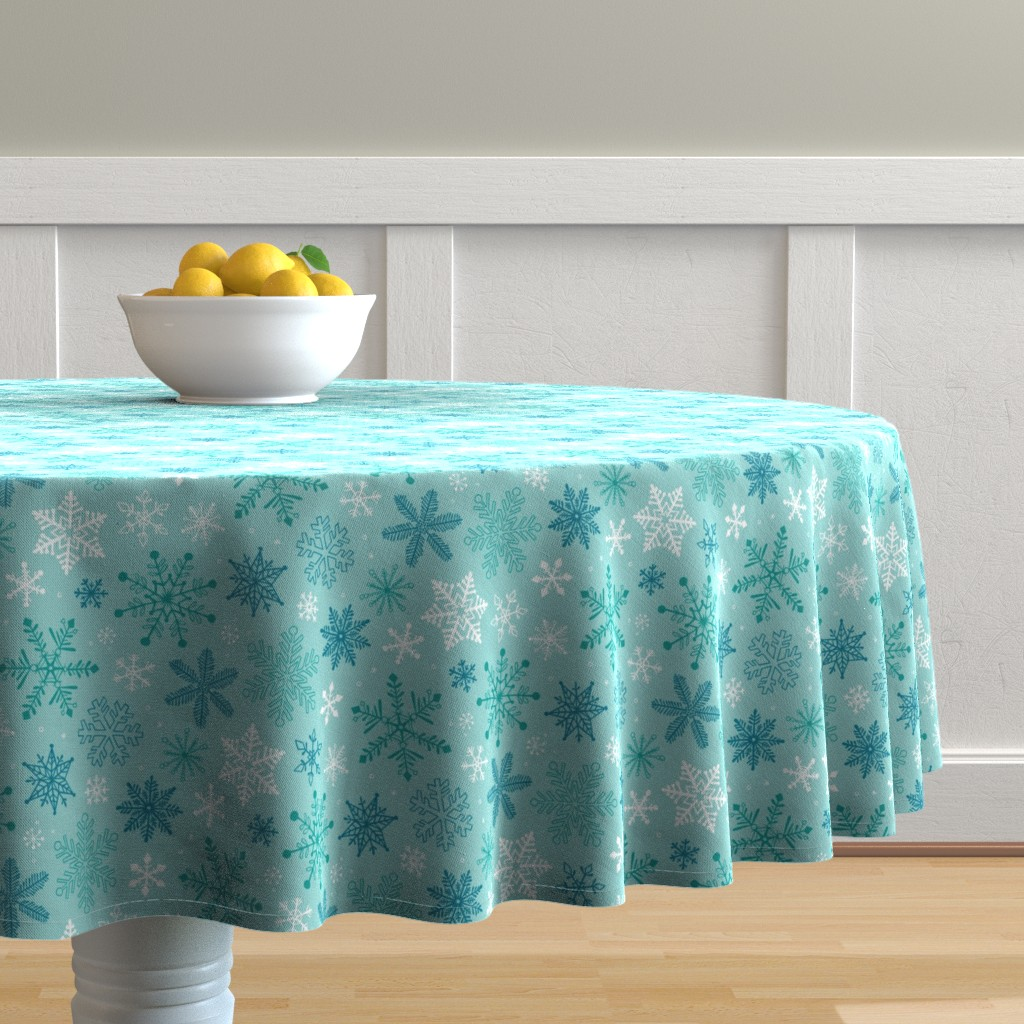 Malay Round Tablecloth featuring Snowflakes Christmas Blue Mint by caja_design