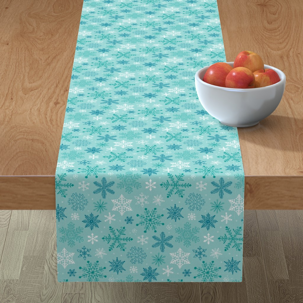 Minorca Table Runner featuring Snowflakes Christmas Blue Mint by caja_design