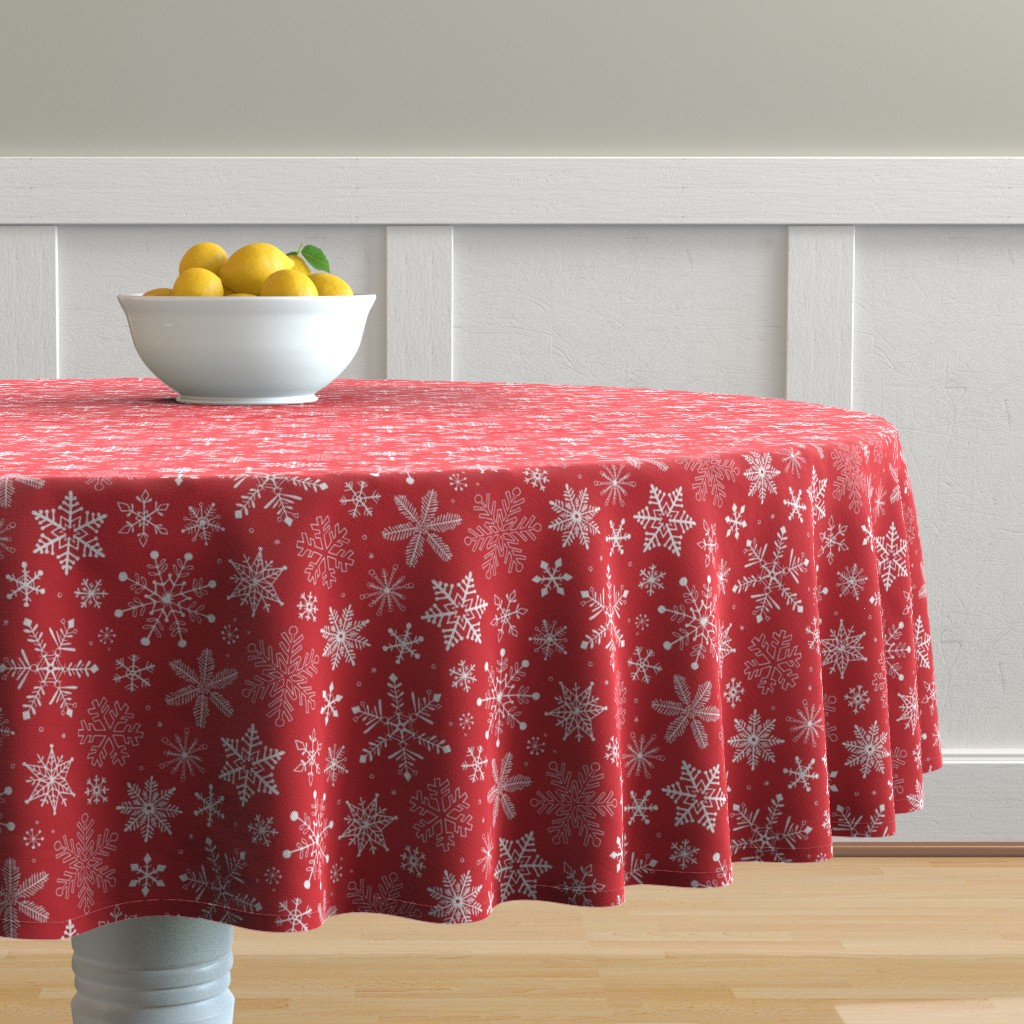 Malay Round Tablecloth featuring Snowflakes Christmas Holiday Red by caja_design