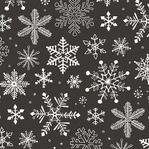 Snowflakes Christmas Winter Black&White
