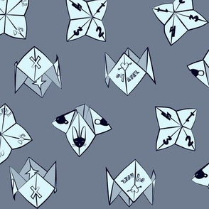 cootie catchers in grey blue
