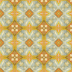Blue and yellow map tiling