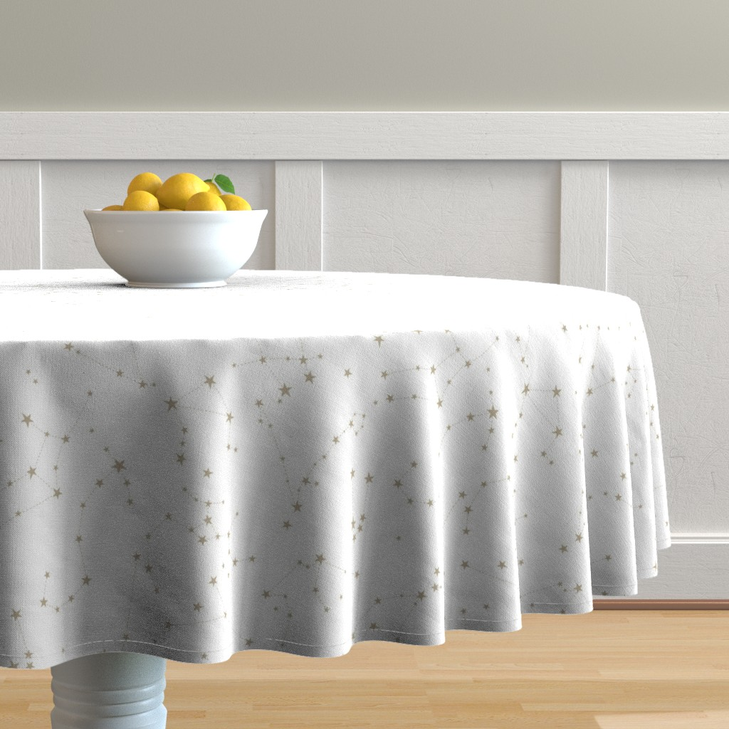 Malay Round Tablecloth featuring stars in the zodiac constellations by eleventy-five