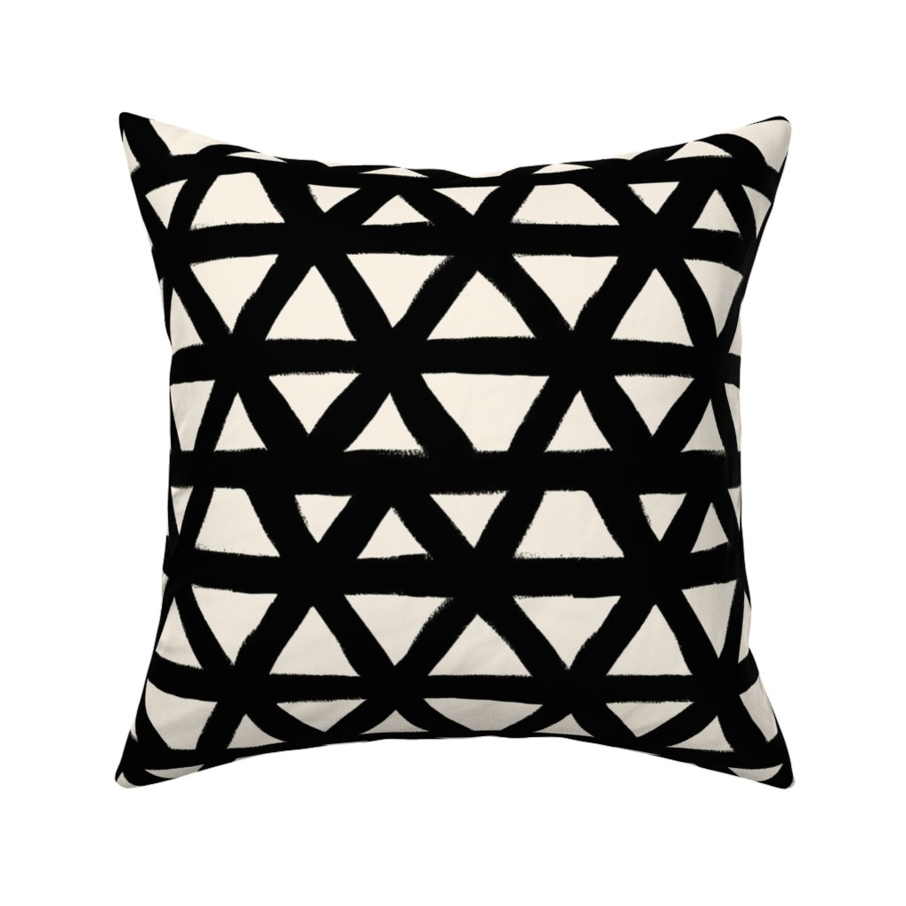 Catalan Throw Pillow featuring Black and White Triangle Geometric by crystal_walen