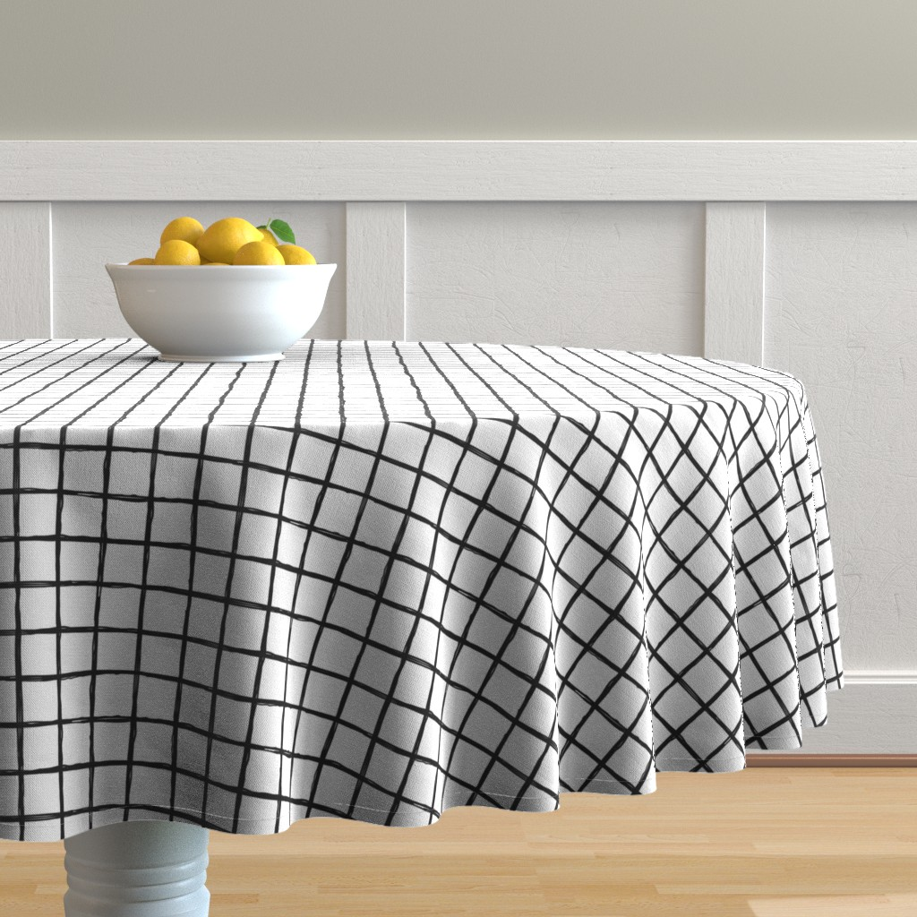 Malay Round Tablecloth featuring Abstract geometric black and white checkered stripe trend pattern grid by littlesmilemakers