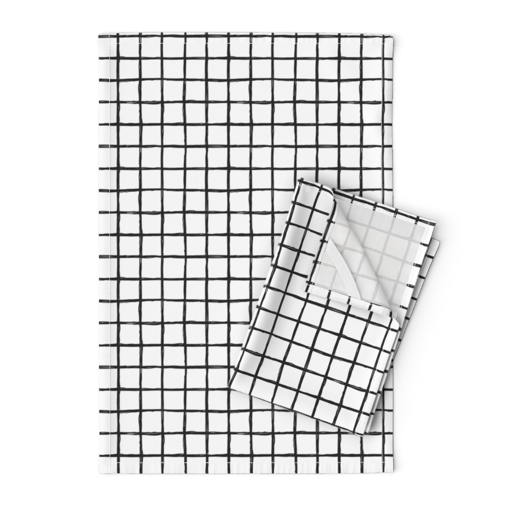 Orpington Tea Towels featuring Abstract geometric black and white checkered stripe trend pattern grid by littlesmilemakers