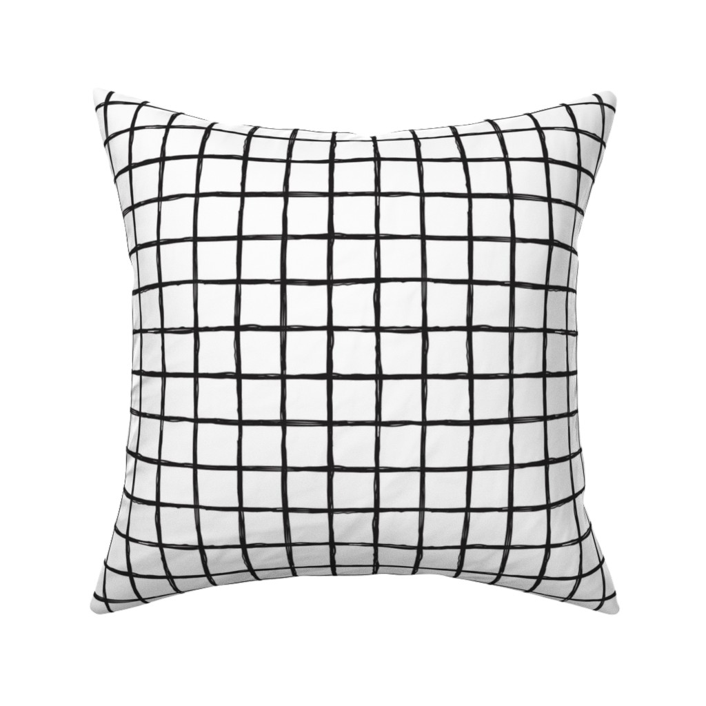 Catalan Throw Pillow featuring Abstract geometric black and white checkered stripe trend pattern grid by littlesmilemakers