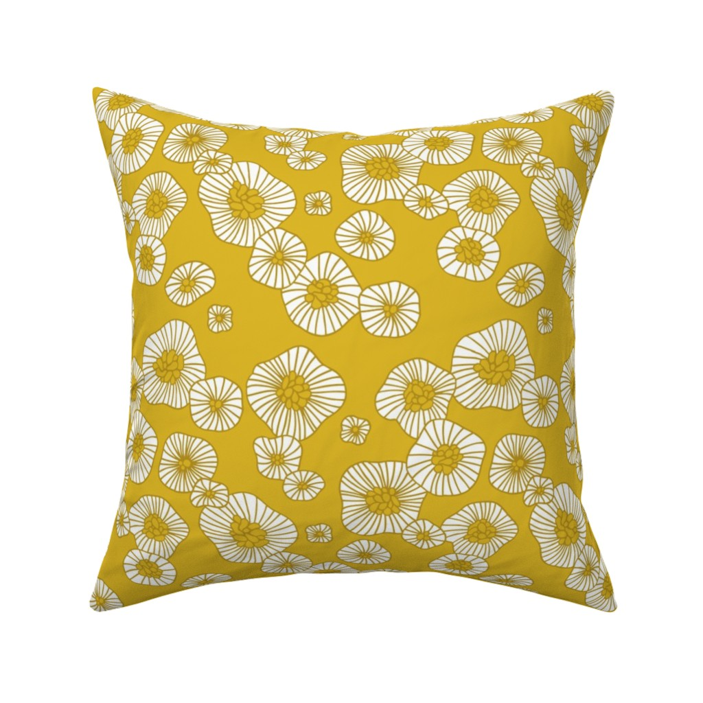 Catalan Throw Pillow featuring Colorful retro summer blossom scandinavian vintage style florals illustration print in mustard by littlesmilemakers