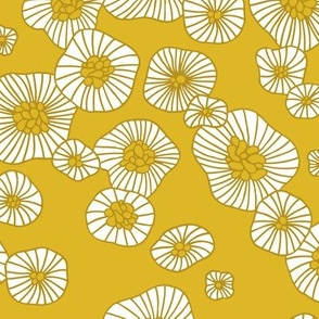 Colorful retro summer blossom scandinavian vintage style florals illustration print in mustard
