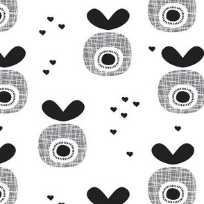 Abstract retro fruit black and white apple illustration scandinavian love print