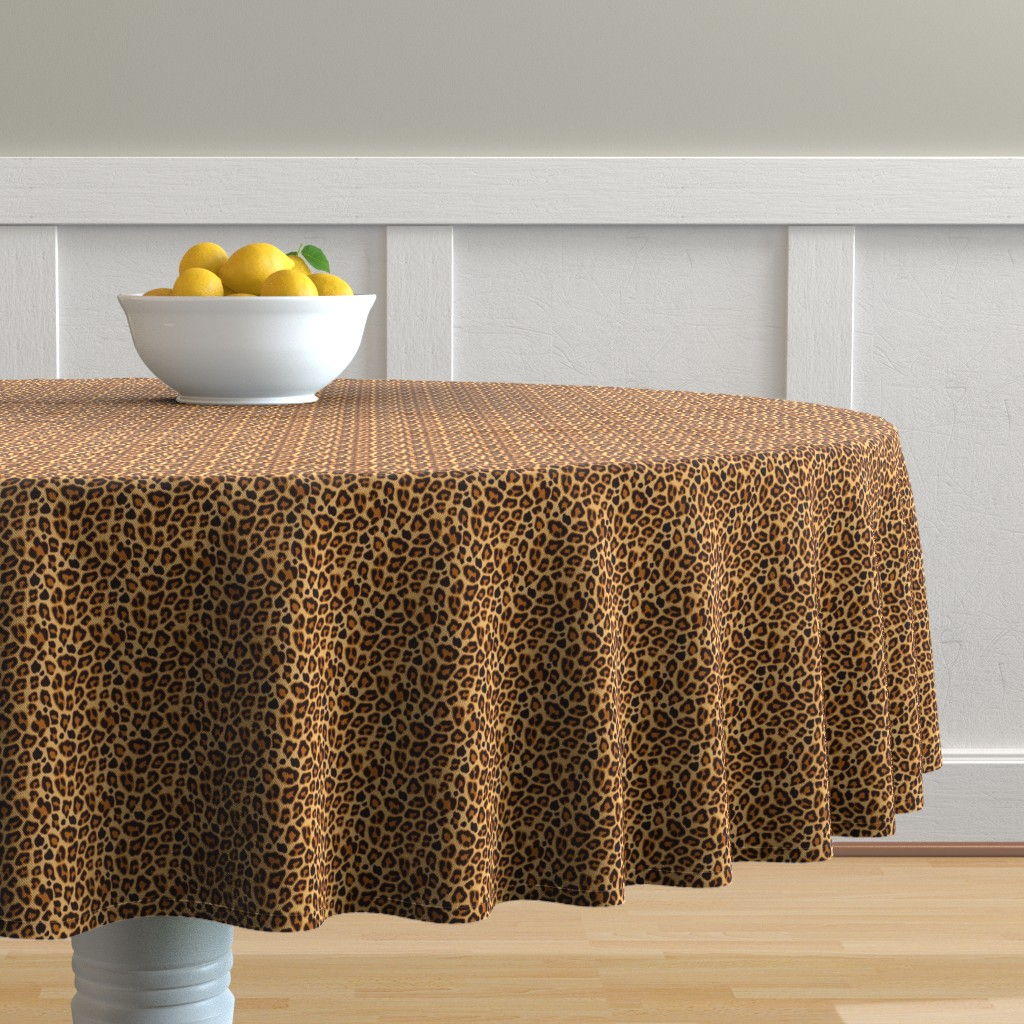 Malay Round Tablecloth featuring Leopard Pattern For Halloween Costume by furbuddy