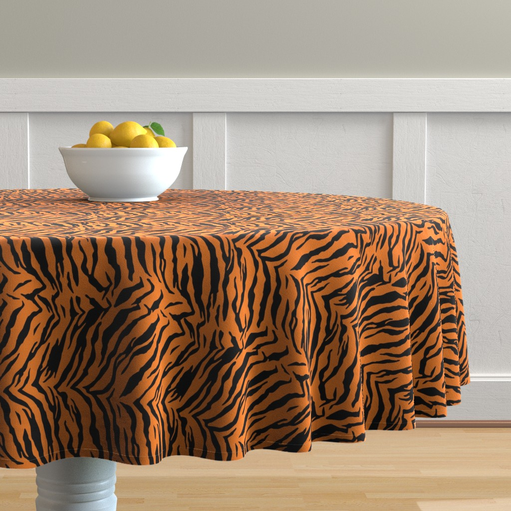 Malay Round Tablecloth featuring Tiger Halloween Costume Pattern by furbuddy