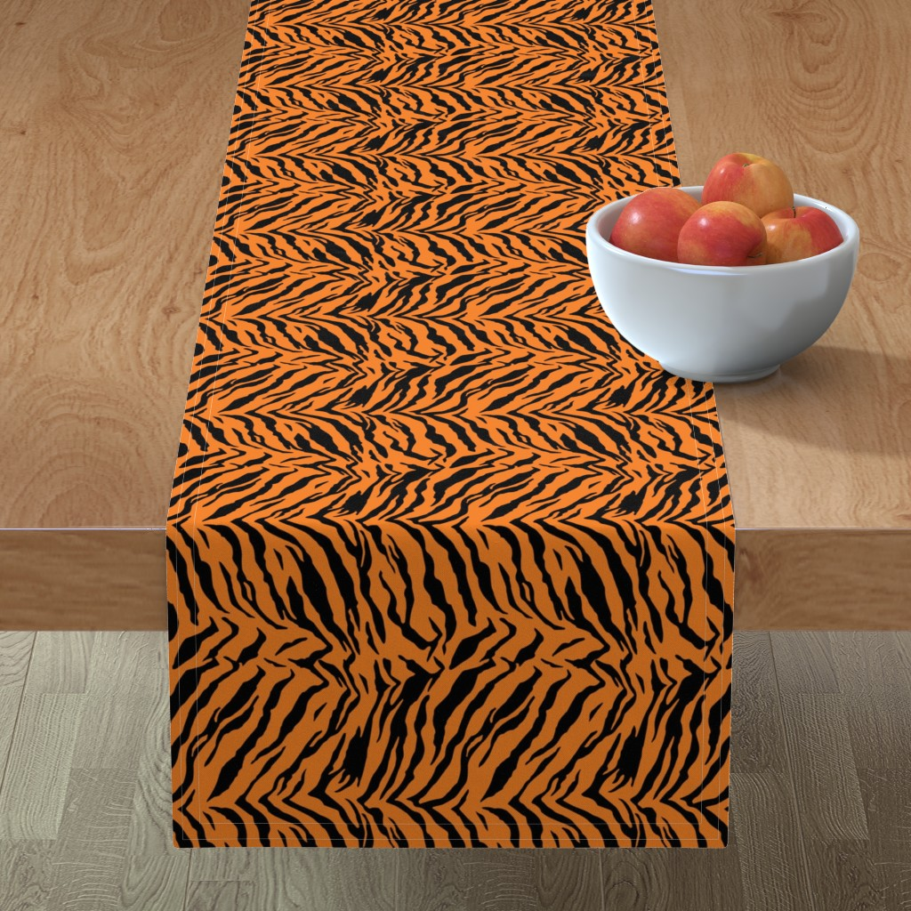 Minorca Table Runner featuring Tiger Halloween Costume Pattern by furbuddy