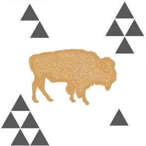 Geometric Buffalo in Gold