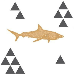 Geometric Shark in Gold