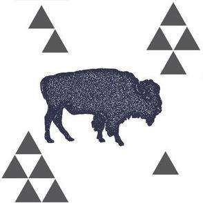 Geometric Buffalo in Navy