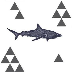Geometric Shark in Navy