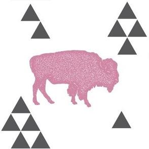 Geometric Buffalo in Pink