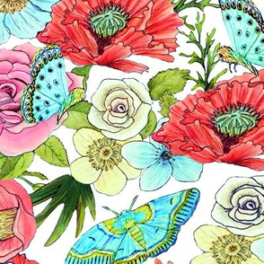 Watercolor flowers and butterflies on white