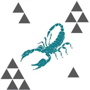 Geometric Scorpion in Teal