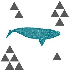 Geometric Whale in Teal