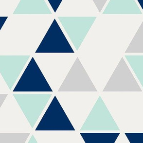 double scale triangles in mint, navy, grey