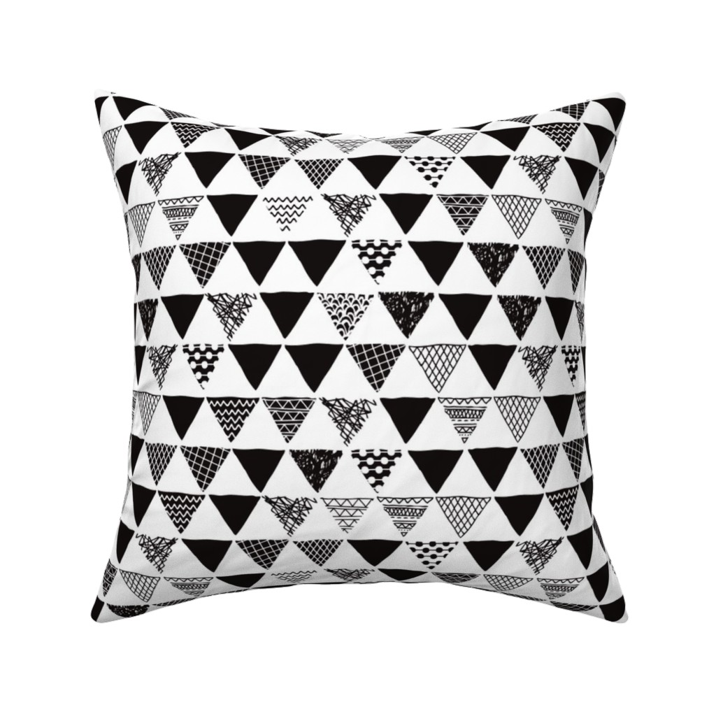 f5f3ad3774cb4 Catalan Throw Pillow featuring Geometric tribal aztec triangle black and  white gender neutral modern patterns by