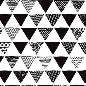 Geometric tribal aztec triangle black and white gender neutral  modern patterns