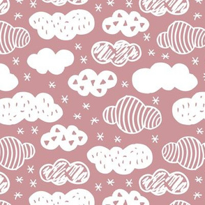 Abstract geometric clouds scandinavian sky dusty pink