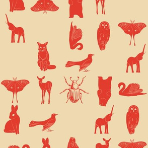 grid collective animal pattern in red