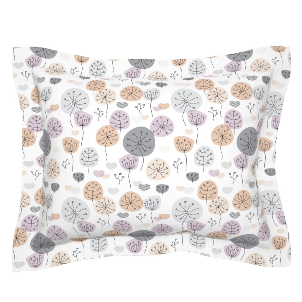 Sebright Pillow Sham featuring Pastel violet and gray poppy flower garden spring blossom fresh illustration print  by littlesmilemakers