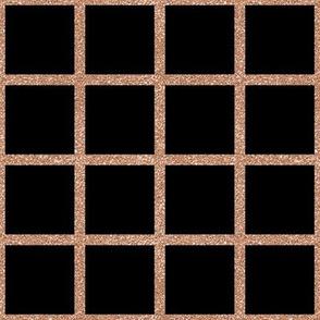Rose Gold Grid on Black