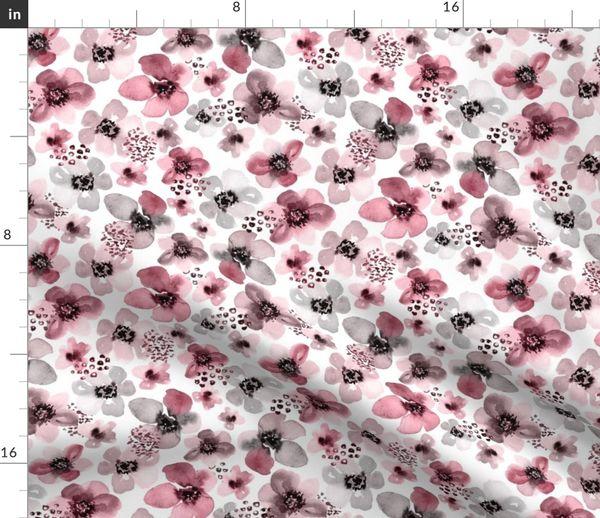 Stoff Meterware Wasserfarben Blumen Handgemalt Beeren Hubsch Boho Aquarell Blumen